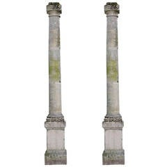 Pair of Important Stone Columns with Their Pedestals, 19th Century