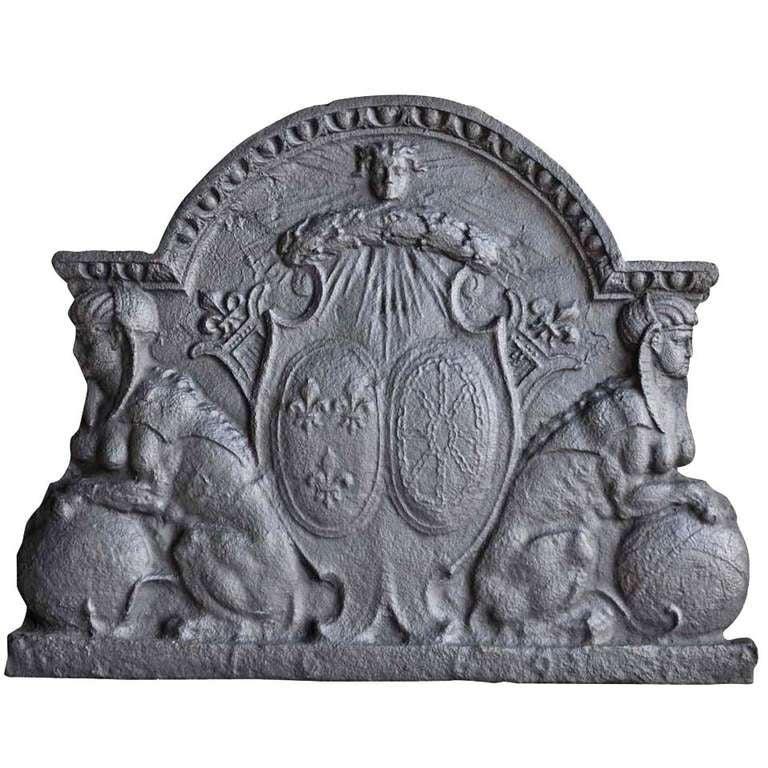 French Louis XIV Period Cast Iron Fireback, Late 17th Century