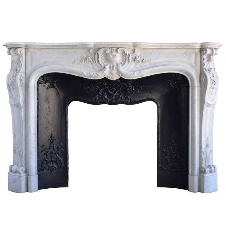 French Louis the 15th style white marble and cast iron fireback - 19th century 1