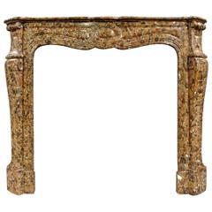 French Pompadour Style Brèche De Salernes Marble Fireplace, 19th Century