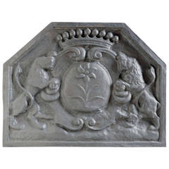 French Louis the 14th style cast iron fireback - Late 19th century.