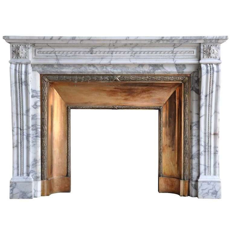 French Louis XVI Style Marble and Brass Fireplace - 19th Century