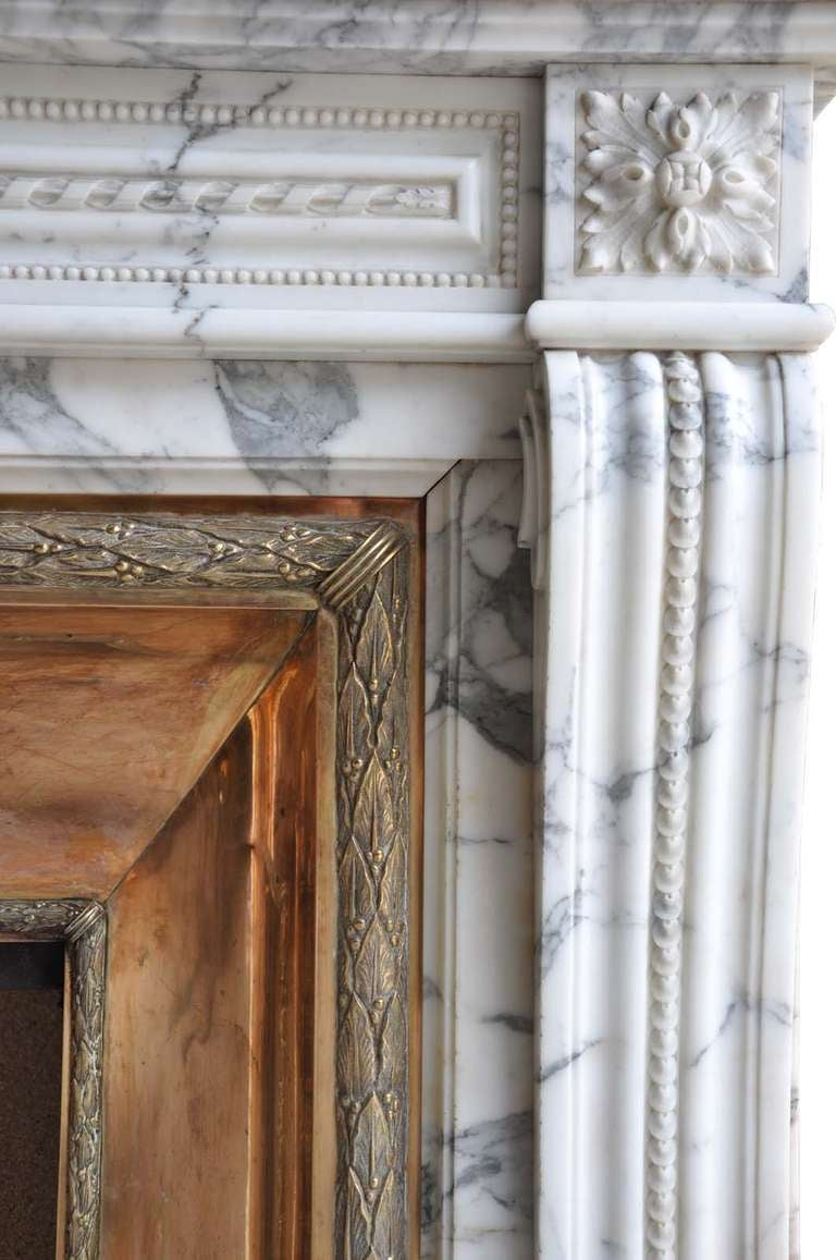 French Louis XVI Style Marble and Brass Fireplace - 19th Century 3