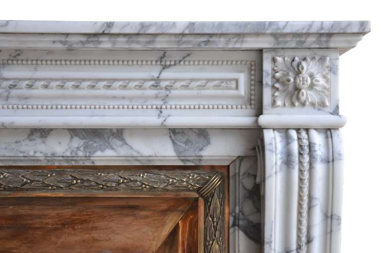 French Louis XVI Style Marble and Brass Fireplace - 19th Century 4