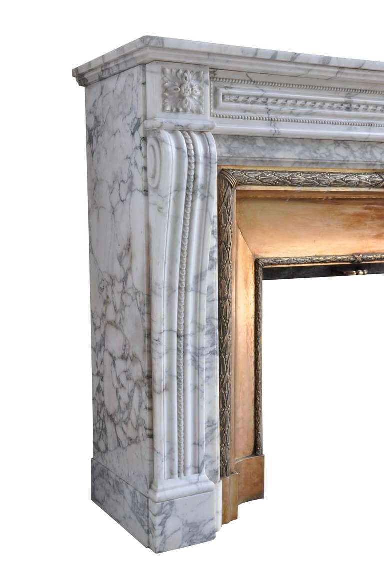 French Louis XVI Style Marble and Brass Fireplace - 19th Century 5