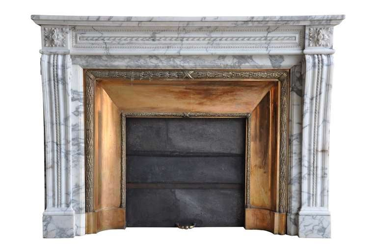 French Louis XVI Style Marble and Brass Fireplace - 19th Century 6
