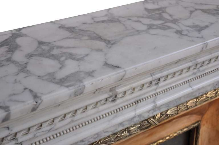 French Louis XVI Style Marble and Brass Fireplace - 19th Century 7