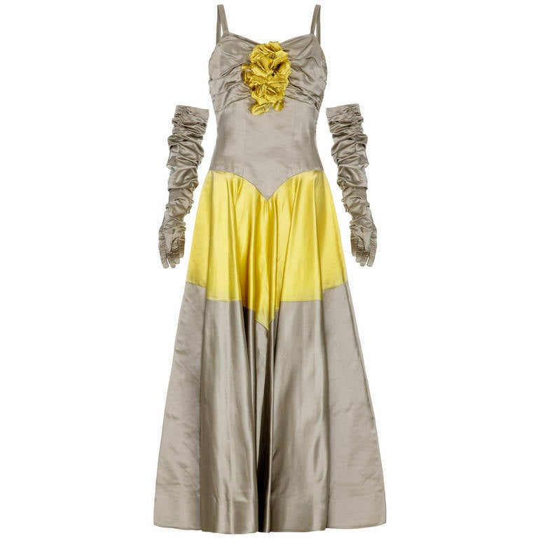 1950's Grey & Yellow Silk Ballgown Dress With Matching Gloves 1
