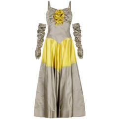 1950's Grey & Yellow Silk Ballgown Dress With Matching Gloves