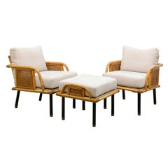 Unique Pair of Modern Rattan and Cane Lounge Chairs by Ficks Reed, circa 1950