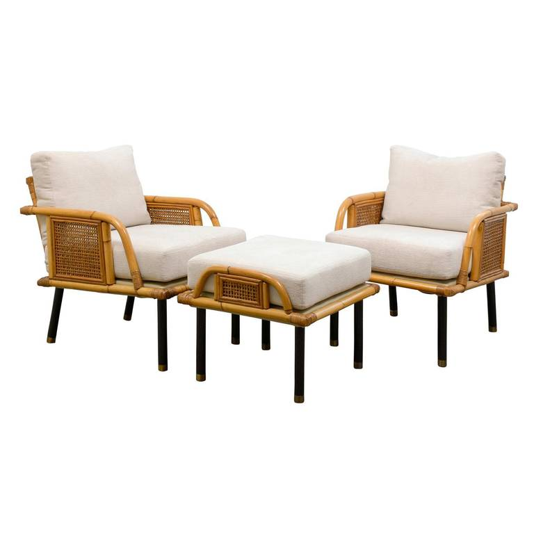 Unique Pair Of Modern Rattan And Cane Lounge Chairs By