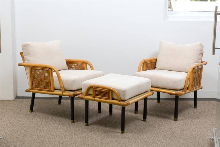 These magnificent lounge chairs are shipped as professionally photographed and described in the listing narrative: Meticulously professionally restored and installation ready. Expert custom upholstery service is available.  An incredible