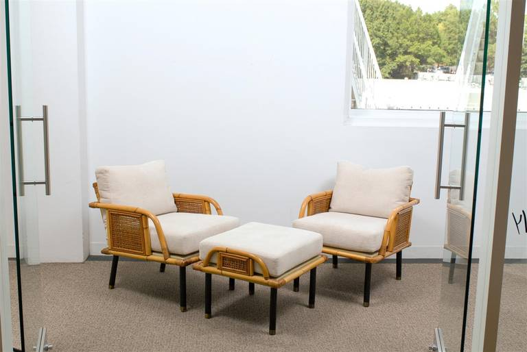 Mid Century Modern Unique Pair Of Modern Rattan And Cane Lounge Chairs By  Ficks Reed