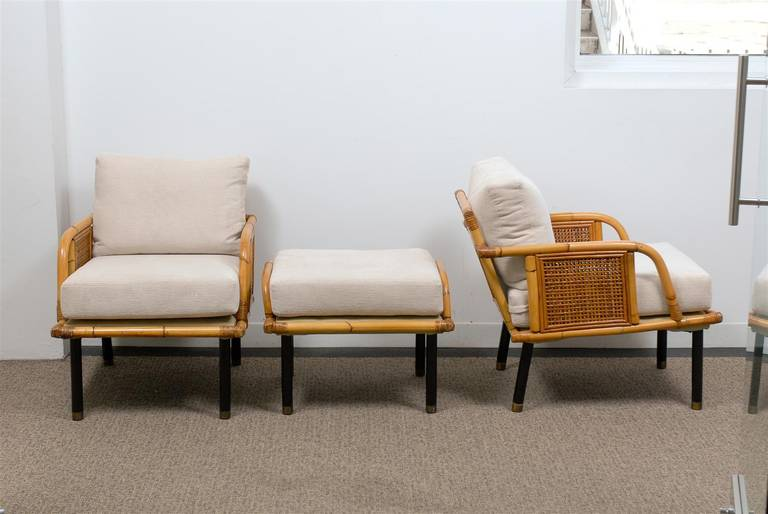 Sublime Pair of Modern Rattan and Cane Lounge Chairs by Ficks Reed, circa 1950 In Excellent Condition For Sale In Atlanta, GA