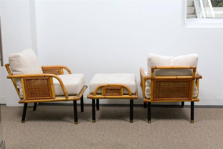 Mid-20th Century Sublime Pair of Modern Rattan and Cane Lounge Chairs by Ficks Reed, circa 1950 For Sale