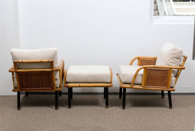 Sublime Pair of Modern Rattan and Cane Lounge Chairs by Ficks Reed, circa 1950 For Sale 2
