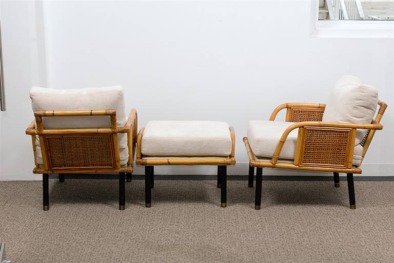 Sublime Pair of Modern Rattan and Cane Lounge Chairs by Ficks Reed, circa 1950 For Sale 3