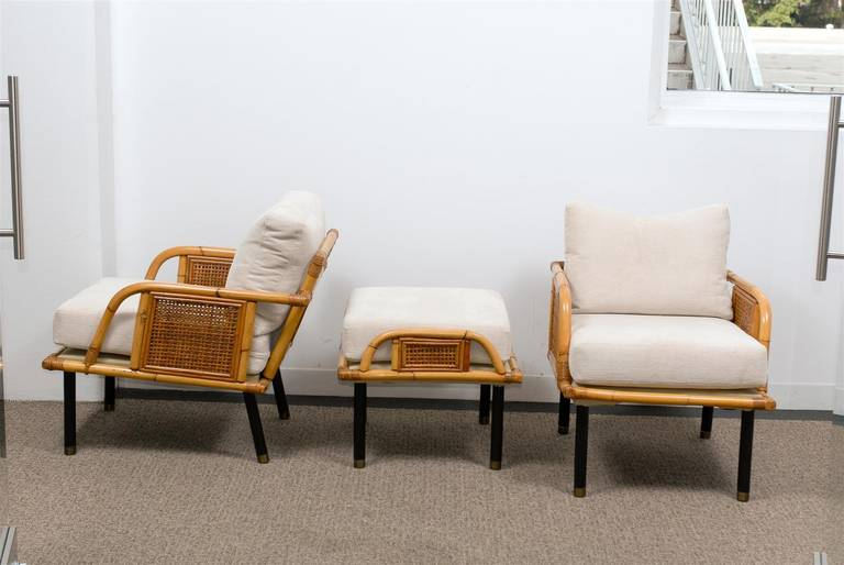 Sublime Pair of Modern Rattan and Cane Lounge Chairs by Ficks Reed, circa 1950 For Sale 4