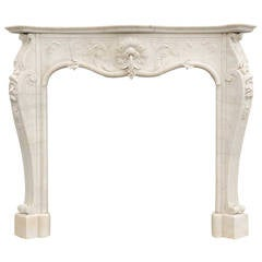 Louis XV Style White Marble Fireplace, 19th Century
