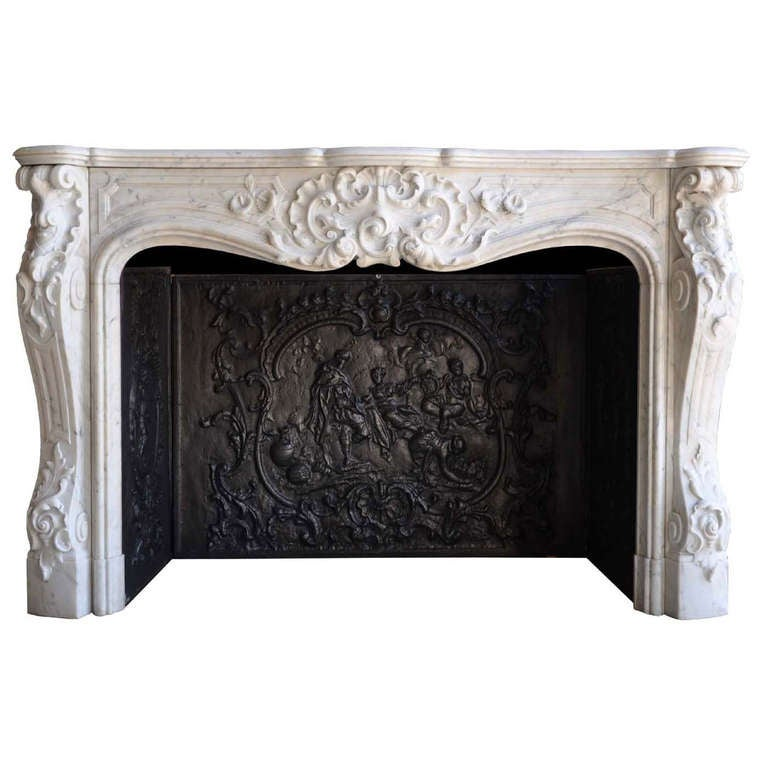 French Louis XV Style White Marble Fireplace At 1stdibs