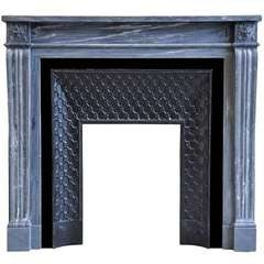 French Louis the 16th style grey marble fireplace - 19th century