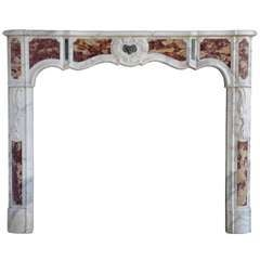 French Régence Period Marble Fireplace, Early 18th Century