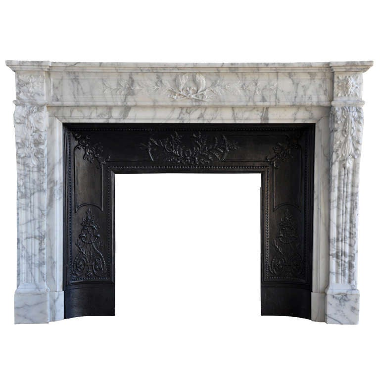 French Louis XVI Style Marble Fireplace 19th Century At
