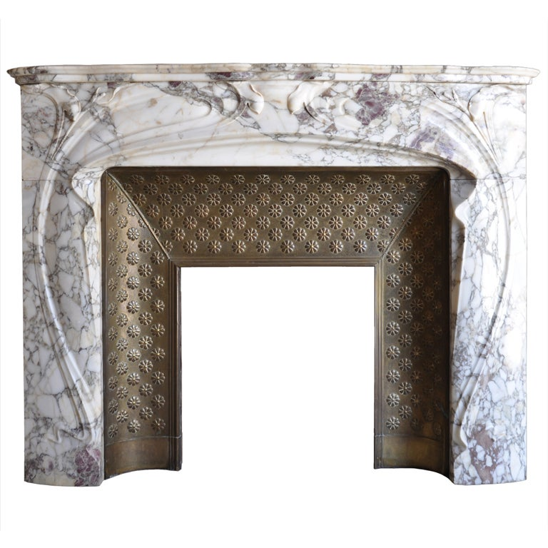 French Art Nouveau Period Marble Fireplace At 1stdibs
