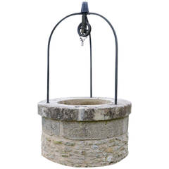 Rustic Country Style Stone and Wrought Iron Well Curbstone, 19th Century