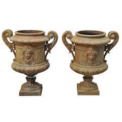 Pair of cast iron vases - Late 19th Century.
