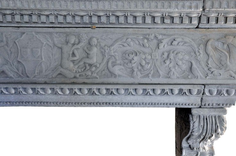 Italian Renaissance style limestone fireplace - late 19th century. 2