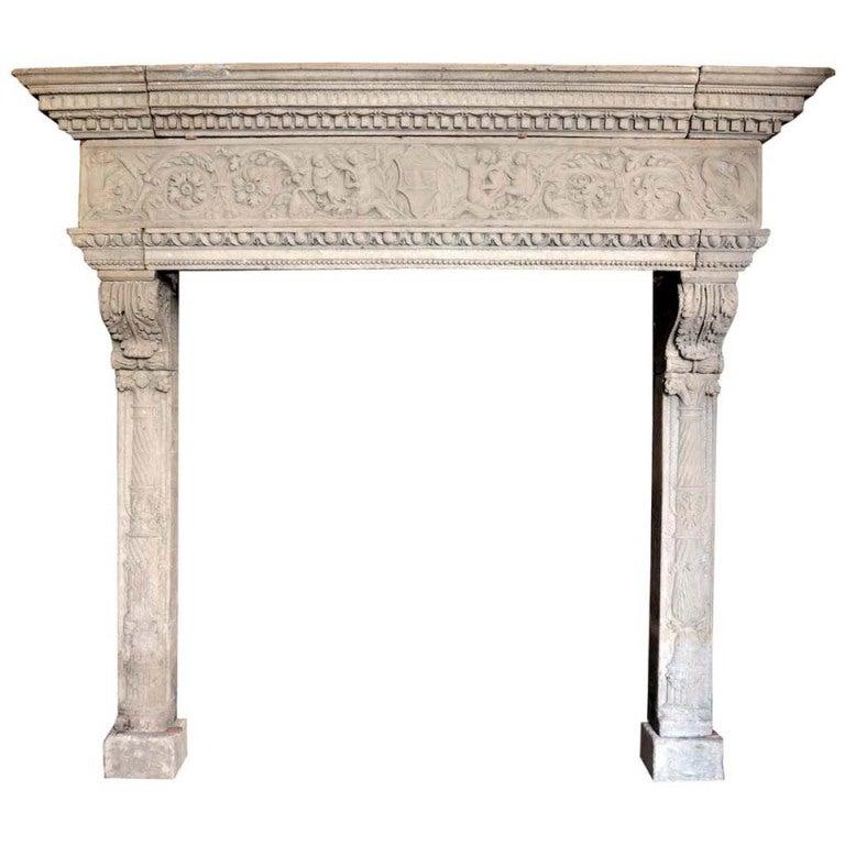 Italian Renaissance style limestone fireplace - late 19th century. 1