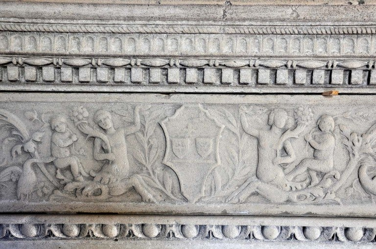 Italian Renaissance style limestone fireplace - late 19th century. 3
