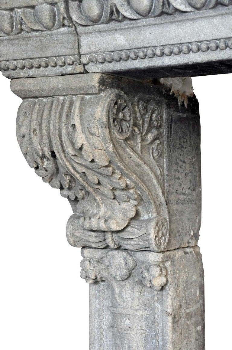 Italian Renaissance style limestone fireplace - late 19th century. 6