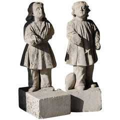 Pair of Stone Statues, 19th Century