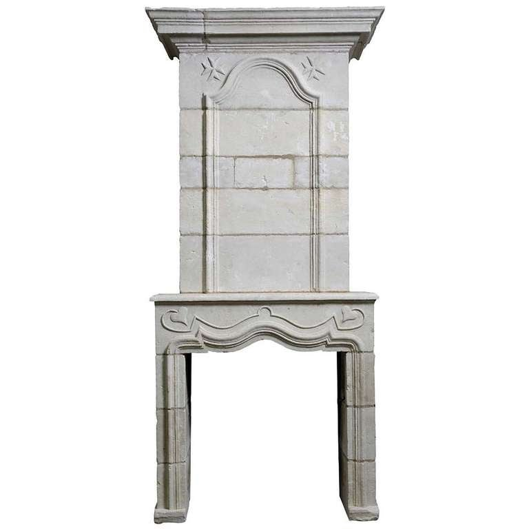 French Louis the 14th Period Limestone Fireplace - Early 18th Century