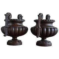 Pair of Cast Iron Vases - Late 19th Century