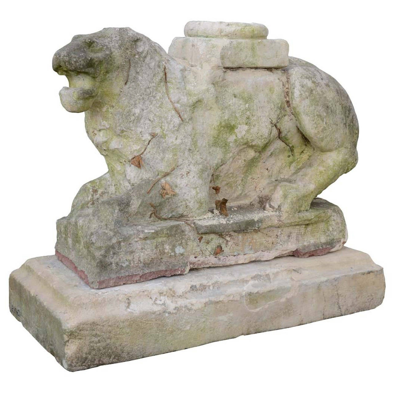 Stone Sculpture Of A Laying Lion 15th Century At 1stdibs