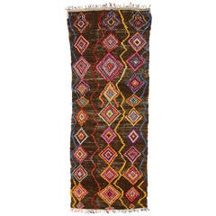 Vintage Berber Moroccan Carpet Runner with Bohemian Style