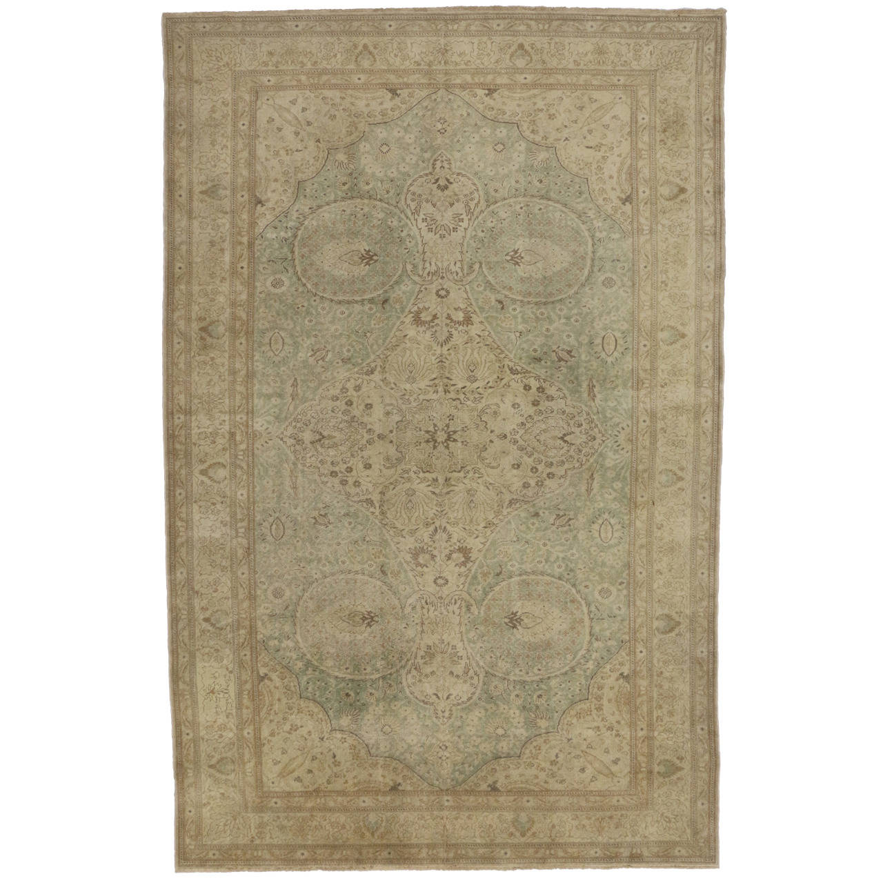 Vintage Turkish Sivas Rug in Soft Muted Colors and Shabby Chic Style