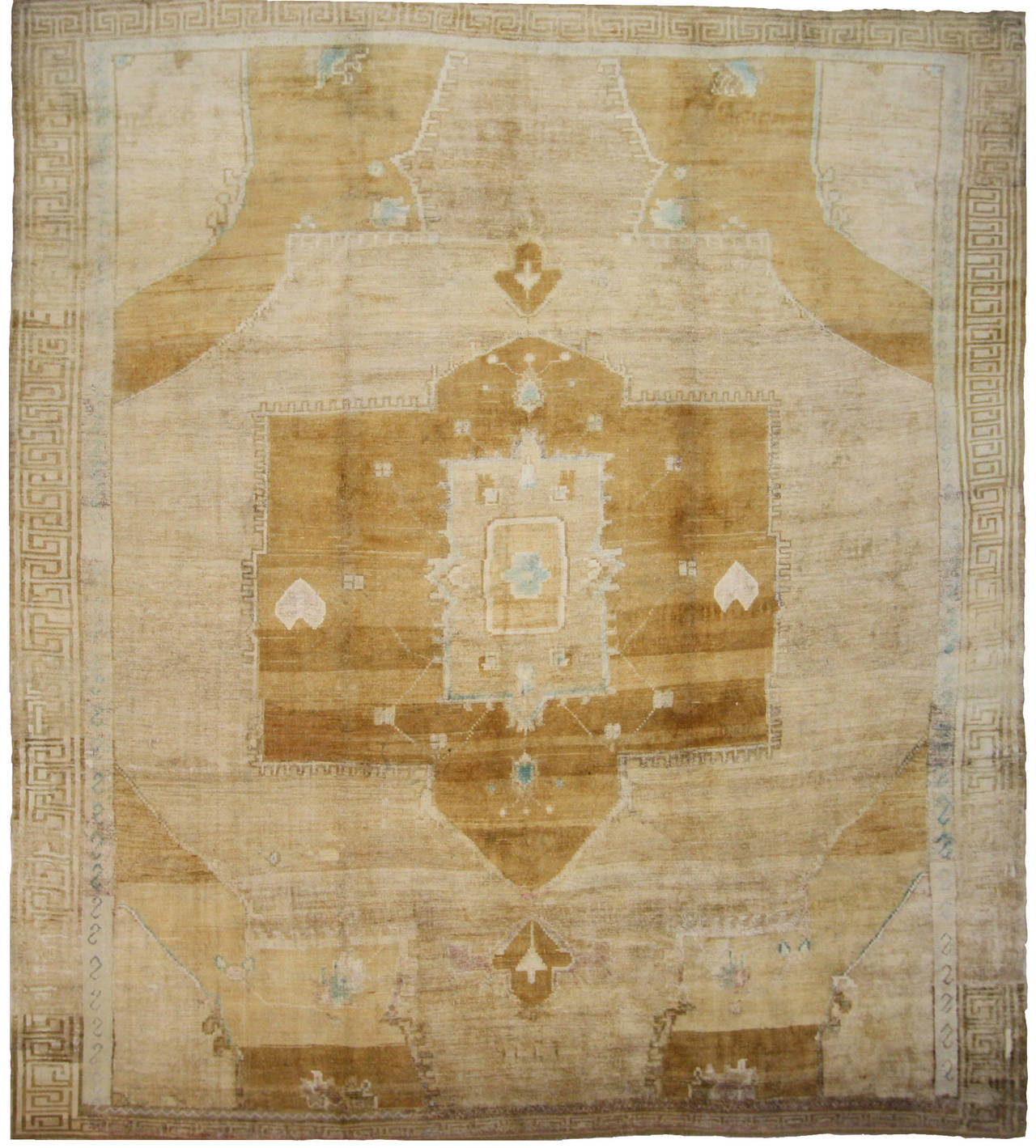 vintage turkish oushak kars square area rug in soft muted colors  - vintage turkish oushak kars square area rug in soft muted colors