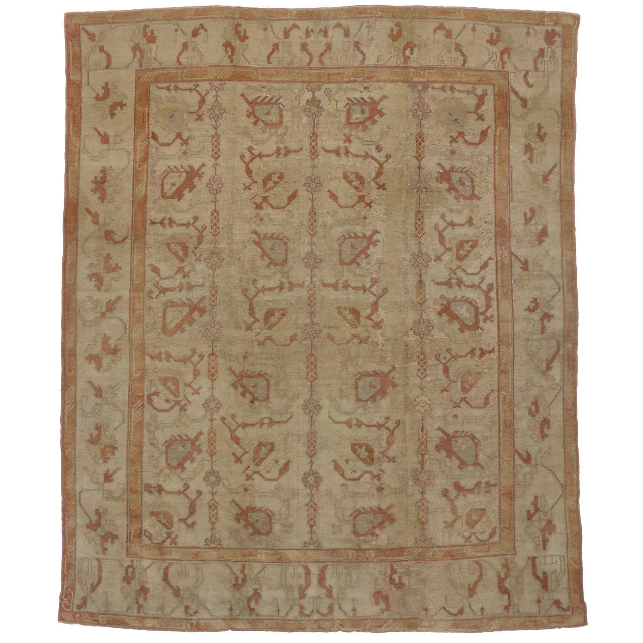 Antique turkish oushak area rug with modern design in soft for Modern area rugs for sale