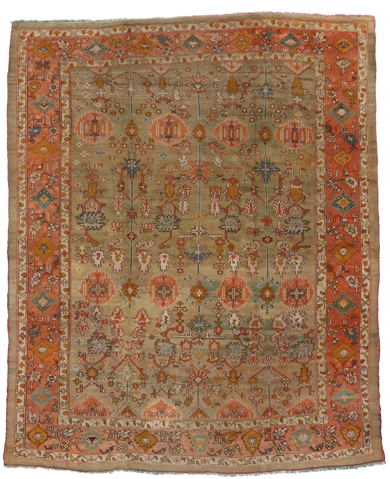Antique Turkish Oushak Area Rug 09 10 Quot X 12 02 Quot At 1stdibs