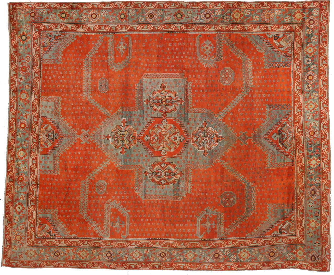 Antique turkish oushak area rug with modern design at 1stdibs for Modern design area rugs