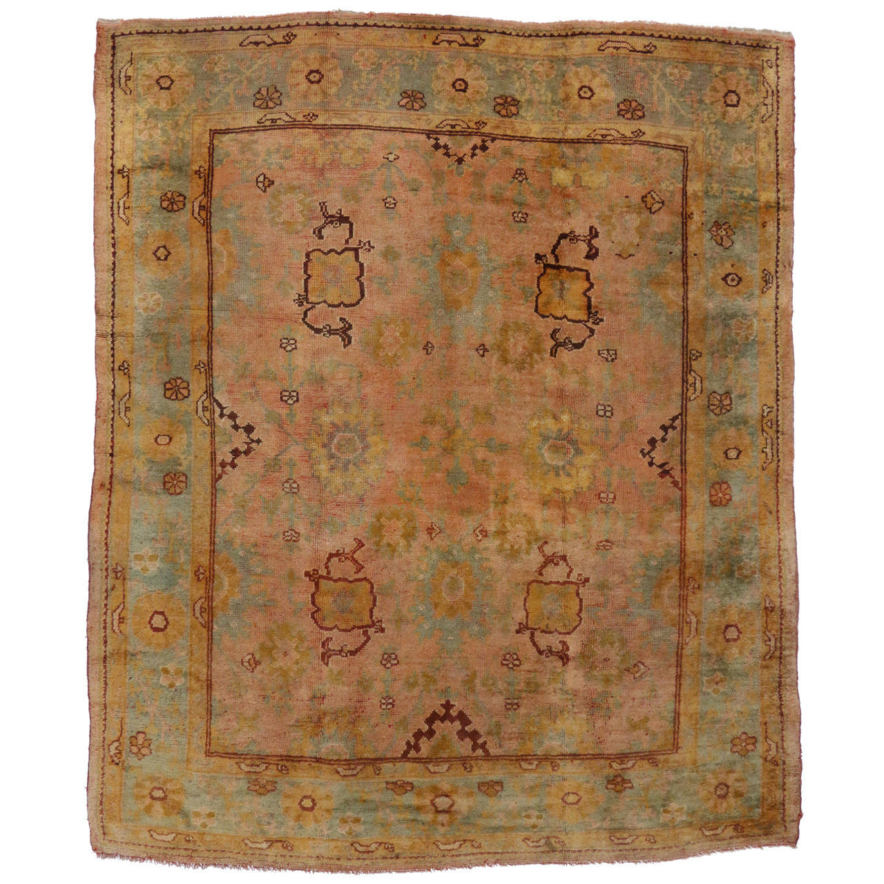 Antique turkish oushak area rug with modern style in time for Vintage style area rugs