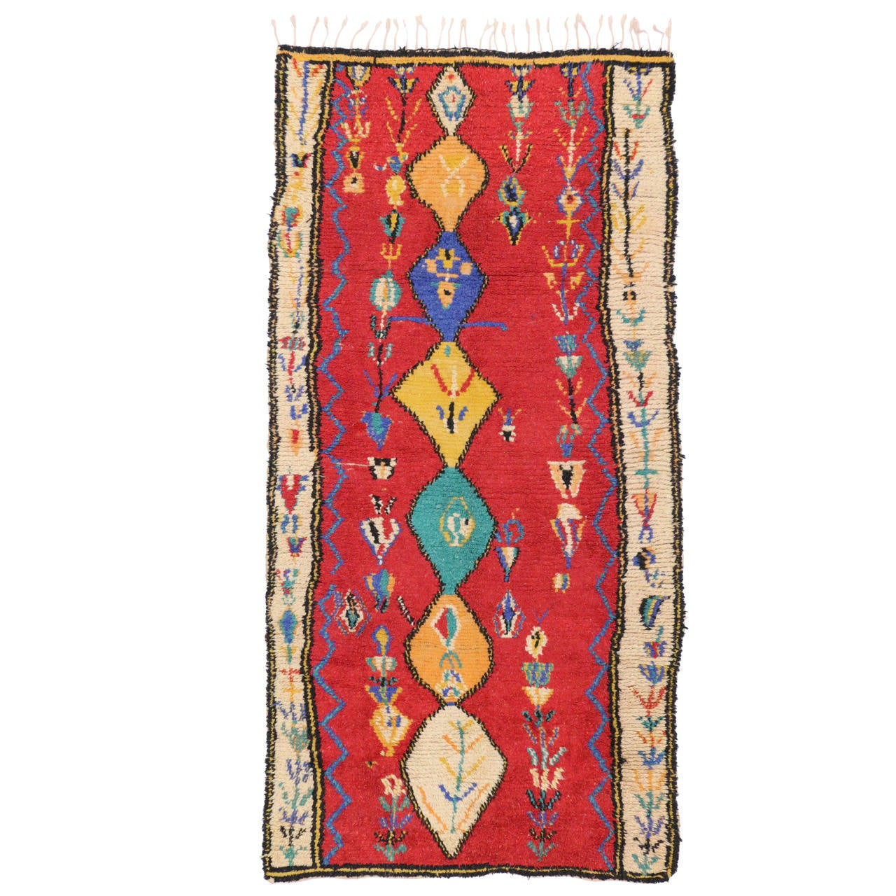 Vintage Berber Moroccan Red Rug With Modern Tribal Design For