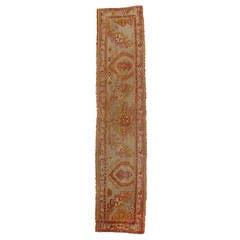 Rare Antique Turkish Sampler Oushak Carpet Runner in Pastel Colors