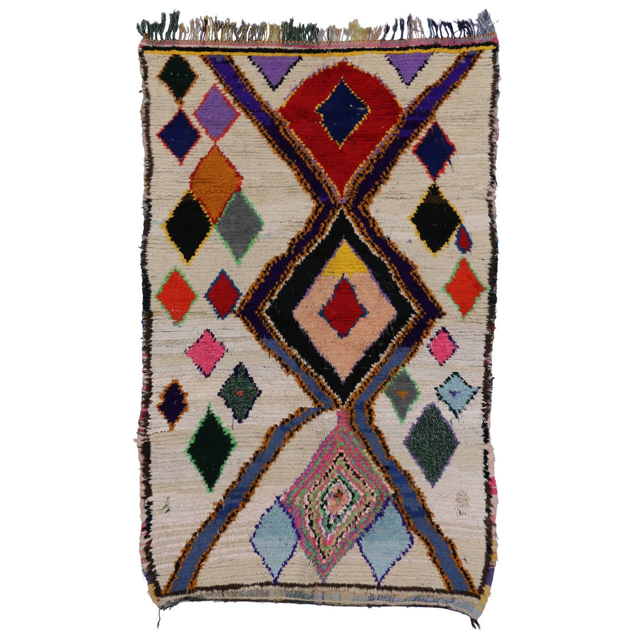 Vintage Azilal Berber Moroccan Rug With Diamonds At 1stdibs