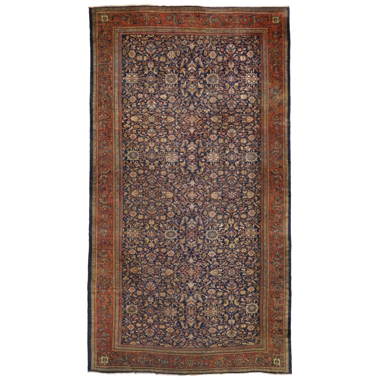 Antique Sultanabad Gallery Rug With Modern Style For Sale