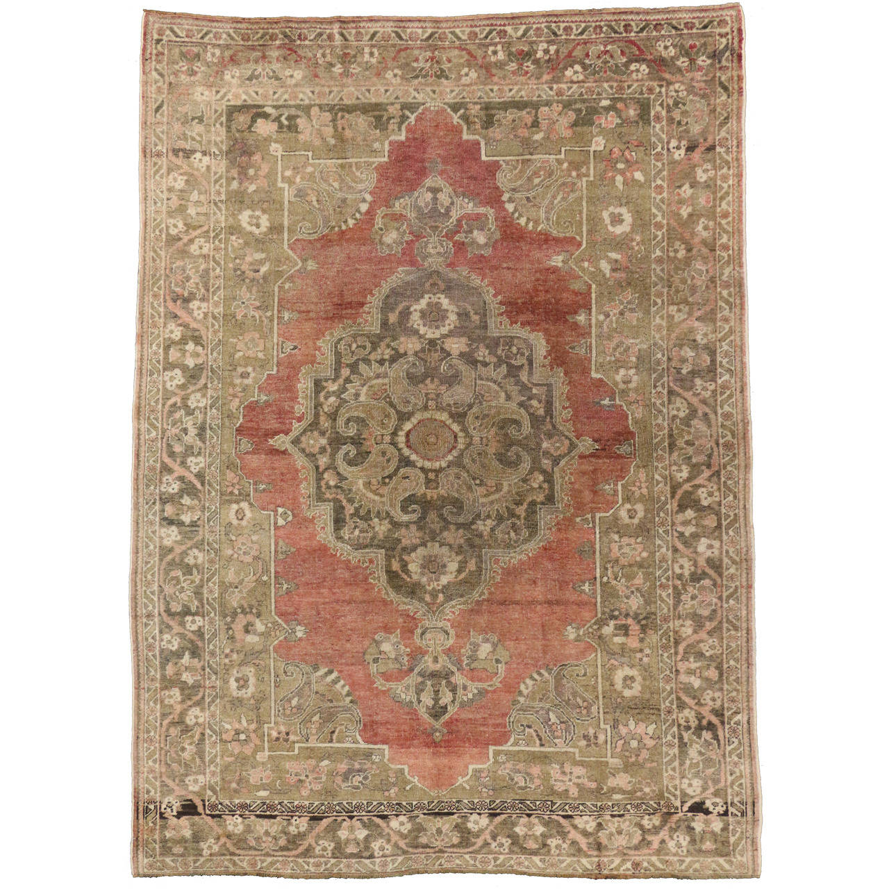 Oushak Rugs For Sale: Antique Turkish Oushak Rug With Modern Design In Soft
